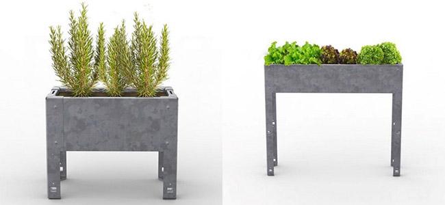 macetas y mesas de cultivo urbano