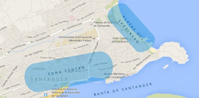 Mapa escapada a Santander - rutas para conocer el centro y las playas en una visita a Santander