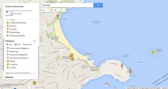 Mapa ruta Sardinero Santander