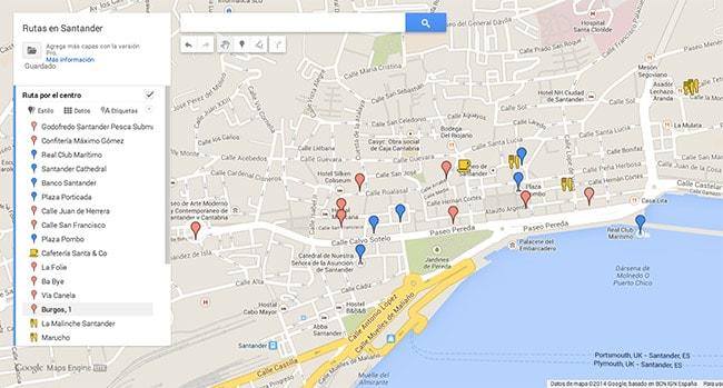 Mapa Santander - ruta por el centro