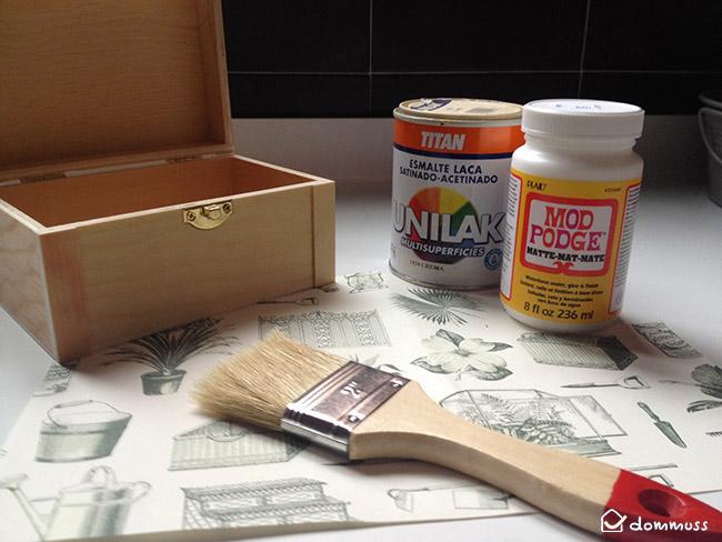 materiales para manualidad caja decoupage con flores naturales