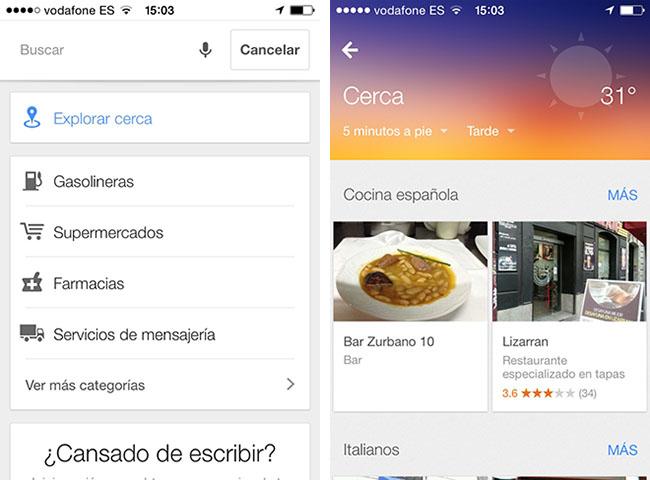 Google Maps, función de explorar