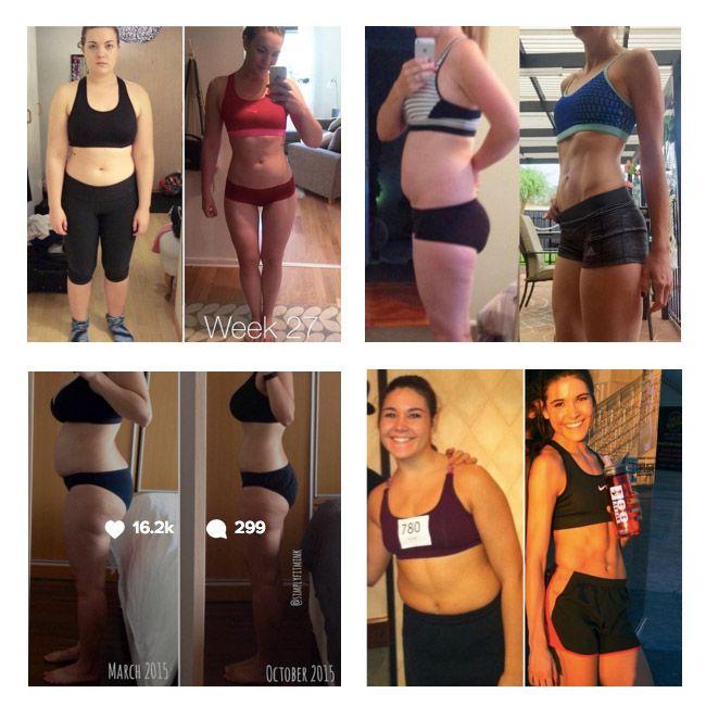 Ejemplos de transformaciones de la guía de Kayla Itsines