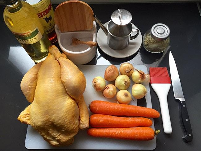 ingredientes de la receta de pollo asado