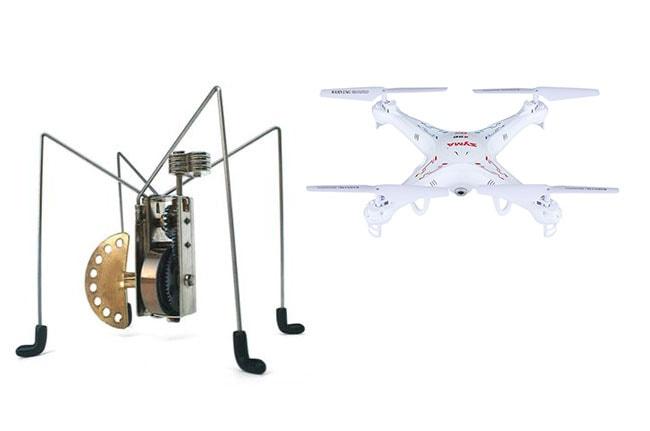 Robots para casa, juguetes: araña robótica y dron