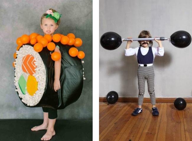 Carnaval con niños - disfraz de sushi y forzudo