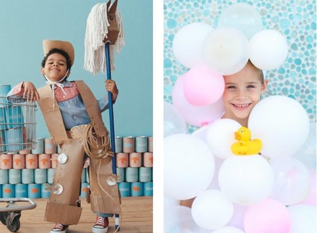carnaval con niños - disfraz de vaquero y burbuja